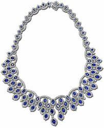 EXTRA LARGE 89.77CT DIAMOND & AAA SAPPHIRE 18KT WHITE GOLD 3D CLEOPATRA NECKLACE