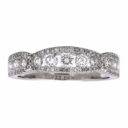 Estate .83ct Diamond 18kt White Gold 3d Channel Semi Eternity Anniversary Ring