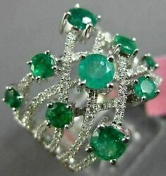 Estate Large 2.02ct Diamond And Aaa Emerald 18kt White Gold 3d Anniversary Ring
