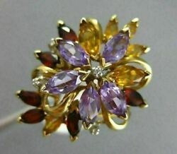 Antique Large 5.04ct Diamond Aaa Amethyst Citrine And Garnet 14kt Yellow Gold Ring
