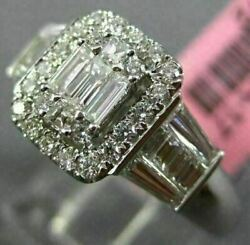 Estate 1.04ct Round And Baguette Diamond 18kt White Gold Cluster Square Halo Ring