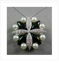 Antique 14kt Diamonds With Black Onyx And Pearls Flower Design White Gold Pendant