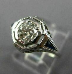 Antique Wide .70ct Diamond And Aaa Sapphire 18kt White Gold Engagement Ring 26036
