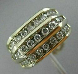 Estate Large 1.0ct Diamond 14kt Two Tone Gold Three Row Square Classic Mens Ring