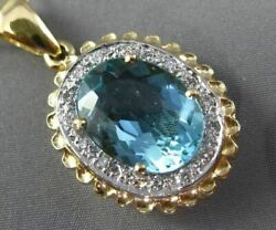 Antique Extra Large 8.90ct Diamond And Aaa Blue Topaz 14kt Two Tone Gold Pendant