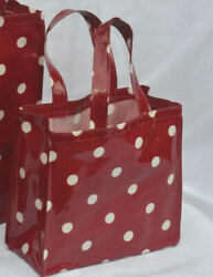 Handmade 100 Cotton Oilcloth Lunch/craft/childs Small Tote Bag - Red Spot