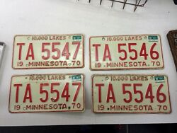 2 Pair Consecutive S 1970 5546 And 5547 Minnesota Mn License Plate Original Cond