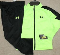 New Boys Under Armour Track Outfit Jacket Pants Neon Green/black - Size 4