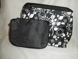 Thirty One Cosmetic Bag 2 piece Set Black Floral Brushstrokes