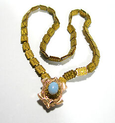 VINTAGE ANTIQUE GOLD FILLED OPAL GLASS VICTORIAN NECKLACE