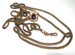 VINTAGE VICTORIAN ANTIQUE GOLD FILLED LONG WATCH FOB NECKLACE PENDANT CHAIN