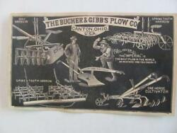 1901 Bucher And Gibbs Plow Co.pan-am Expo Illus Trade Card Disc Harrow Spike Tooth