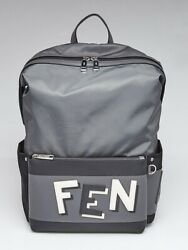 Fendi Grey/Black Nylon Fabric Shadow Logo Backpack Bag
