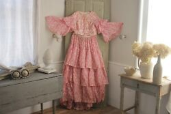 Antique Dress Skirt And Bodice Set French 1850and039s Pink Floral Flared Sleeves Layers
