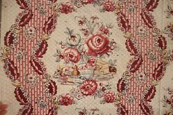 Antique Montpellier Fabric French Block Printed 1775 18th Century 48x86 Inches