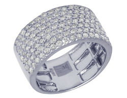 Real Diamond 7 Rows Honey Comb Band Ring Unisex In 10k White Gold 2 3/4 Ct 12mm