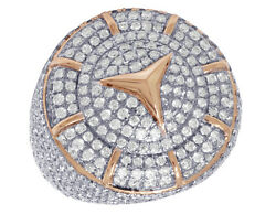 Menand039s Real Diamond Mercedes Car Logo Pinky Ring In 10k Rose Gold 6 1/2 Ct 26mm