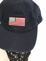 Old Navy Mens One Sz Hat Navy Blue American Flag Adjustable Ball Cap Cotton