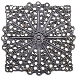 10 Silver Tone Filigree Square Stamping Jewelry Findings Crafts 40 Mm Vintage