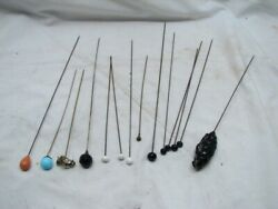 Lot 14 Vintage Hat Stick Pins Victorian Rhinestone Faceted