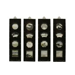 Chinese Rosewood Dream Stone Scenery Wall Panel Set 4 Pieces Cs5030
