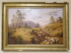 Antique 1890 Signed Original Oil On Canvas Painting By T. V. Roberts - Rare