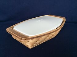 Longaberger Heartwood Serving Tray Basket And Lidded Protector Historical Records