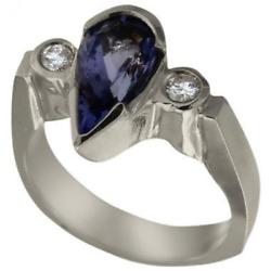 Aaa Tanzanite Pear Shape Engagement Ring With Diamonds1.85tcw 14k Wg Size 5.5