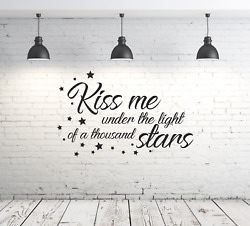 Kiss me under the light of a 1000 stars romantic wall art sticker for Bedroom