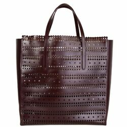 57507 Auth Alaia Burgundy Laser-cut Leather Square Tote Bag