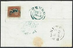 Cornwall Ph 1843 Truro Mx In Deep Blue-green On 1d Red-brown Pl 32 Gl Cat.andpound6000