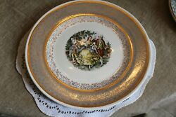Vintage....estate......royal China  22 K Gold.....colonial Couple.....plate