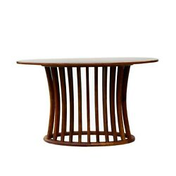 Chinese Oval Light Brown Rosewood Entryway Foyer Pedestal Table Cs5066