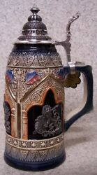 Beer Stein With Lid Stoneware Scepter And Lion 0.5 Liter New Made Germany Boxed B