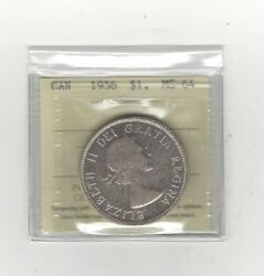 1956 Iccs Graded Canadian Silver Dollar Ms-64