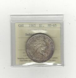 1965 T-1, Smbds/ptd5, Iccs Graded Canadian Silver Dollar Ms-65