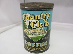 Vintage Advertising Country Club Brand Coffee Tin Can Graphics 806-t