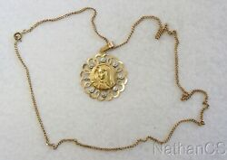 Vintage 18k. Solid Gold Open Work Large Medal Virgin Mary And 18k Chain - 1920's