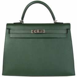 57984 auth HERMES Vert Anglais green Epsom leather & silver KELLY 35 SELLIER Bag