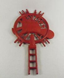Vtg Cast Iron Trivet Unusual Fireman Fire Hat Ladder Fire Hydrant Numbered Red