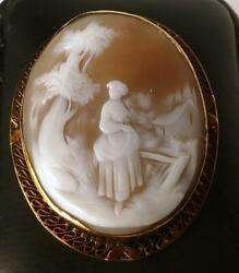 Large Vintage 14k Rose Gold Hand Carved Shell Cameo Brooch Woman In Village