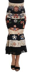 NEW $12400 DOLCE & GABBANA Skirt Crystal Carretto Black Gold Lace IT46/ US12/ XL