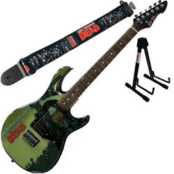 Peavey Walking Dead Michonne Splash Guitar With Group Strap And Stand