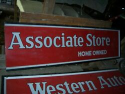 16and039 X 2-1/2and039 Metal Sign Western Auto Associate Store Home Owned Burdick Old Vtg