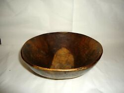 Antique Early 1900s Wood Turned Large Woden Dough Bowl Original 22./23