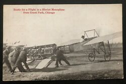 1914 North Bay Ny Usa Rppc Postcard Early Aviation Cover Bleriot Monoplane