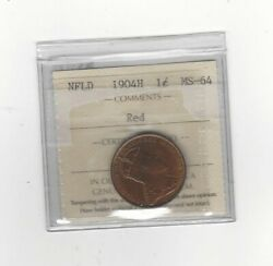 1904h Iccs Graded Newfoundland Large One Cent Ms-64