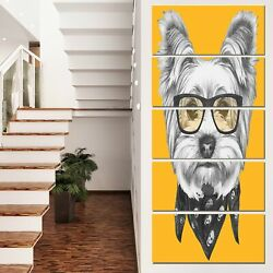 Designart 'Funny Terrier Dog with Glasses' Large Animal Wall 28 in. wide x 60