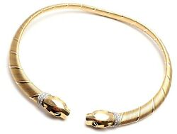 Authentic! Cartier Panther Panthere 18k Tri-Color Gold Diamond Collar Necklace