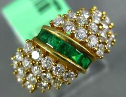 Wide 1.60ct Diamond And Aaa Emerald 18kt Yellow Gold 3d Round And Baguette Fun Ring